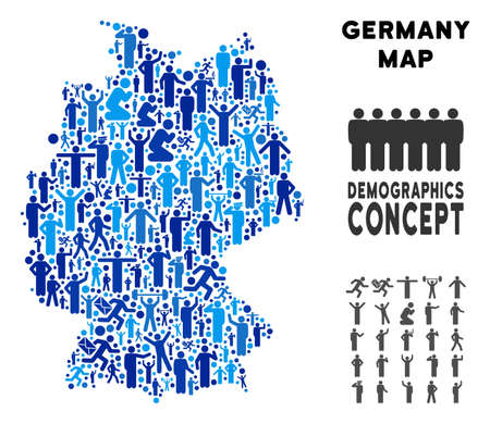 Vector population Germany map. Demography mosaic of Germany map constructed of persons with different postures. Demographic map in blue tinges. Abstract social plan of national community cartography.