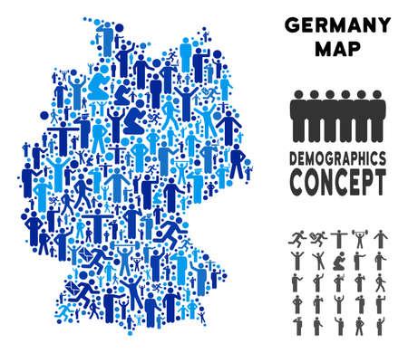 Vektor Bevölkerung Deutschland Karte. Demografiemosaik der Deutschlandkarte aus Personen mit unterschiedlichen Körperhaltungen. Demografische Karte in Blautönen. Abstrakter Sozialplan der nationalen Gemeinschaftskartographie.