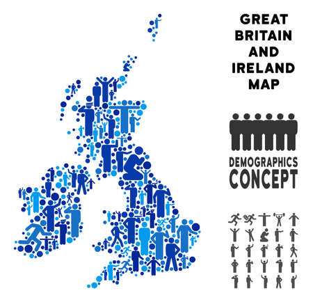 Vector population Great Britain and Ireland map. Demography composition of Great Britain and Ireland map composed of persons with different postures. Demographic map in blue tinges. Çizim
