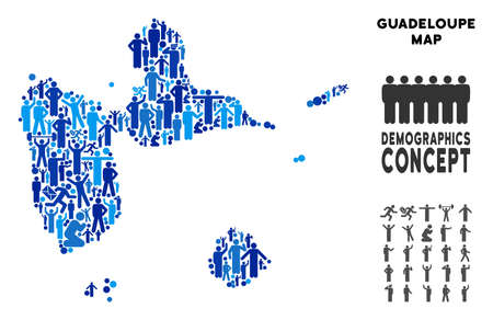 Vector population Guadeloupe map. Demography concept of Guadeloupe map made of humans with variable postures. Demographic map in blue variations. Illustration