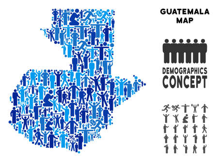 Vector population Guatemala map. Demography concept of Guatemala map made of crowd with different positions. Demographic map in blue tinges. Abstract social scheme of national public cartography. Vectores
