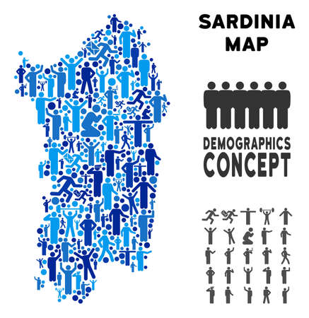 Vector population Italian Sardinia Island map. Demography collage of Italian Sardinia Island map constructed of persons with different postures. Demographic map in blue shades.
