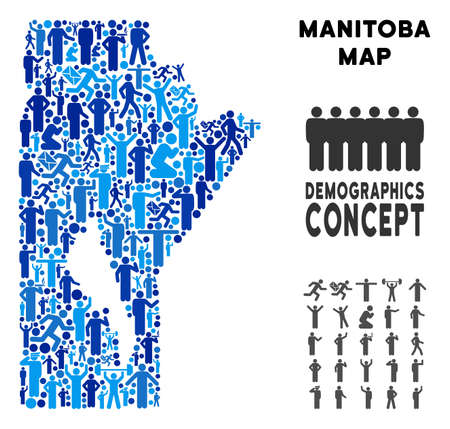 Vector population Manitoba Province map. Demography concept of Manitoba Province map designed of humans with variable postures. Demographic map in blue hues.