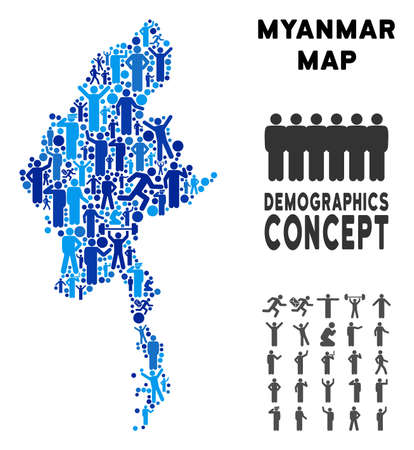 Vector population Myanmar map. Demography concept of Myanmar map designed of crowd with variable poses. Demographic map in blue variations.  イラスト・ベクター素材