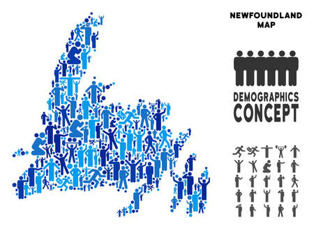 Vector population Newfoundland Island map. Demography abstraction of Newfoundland Island map made of crowd with variable poses. Demographic map in blue tinges. Illustration