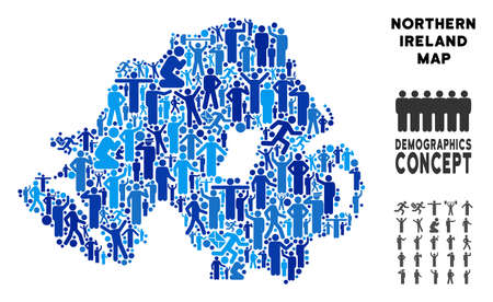 Vector population Northern Ireland map. Demography mosaic of Northern Ireland map combined of men with different postures. Demographic map in blue hues.