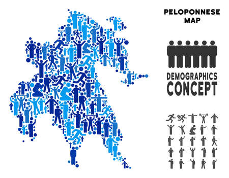 Vector population Peloponnese Peninsula map. Demography abstraction of Peloponnese Peninsula map designed of people with different poses. Demographic map in blue tints.