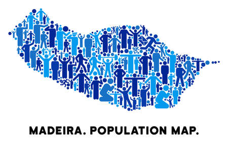 Vector population Portugal Madeira Island map. Demography composition of Portugal Madeira Island map combined of humans with different positions. Demographic map in blue tinges.