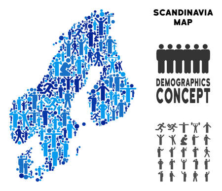 Vector population Scandinavia map. Demography mosaic of Scandinavia map combined of crowd with variable poses. Demographic map in blue shades.
