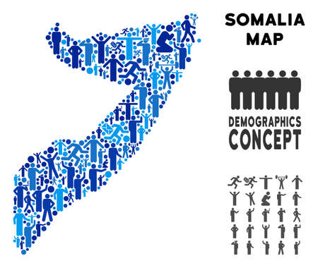 Vector population Somalia map. Demography collage of Somalia map organized of people with variable poses. Demographic map in blue tinges. Abstract social scheme of national group cartography.
