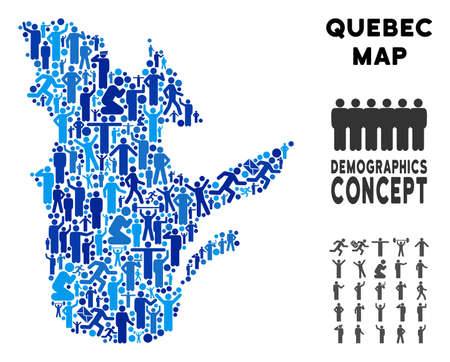 Vector population Quebec Province map. Demography composition of Quebec Province map composed of men with variable positions. Demographic map in blue tints.