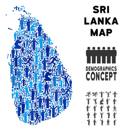 Vector population Sri Lanka Island map. Demography concept of Sri Lanka Island map done of humans with variable postures. Demographic map in blue variations. Çizim