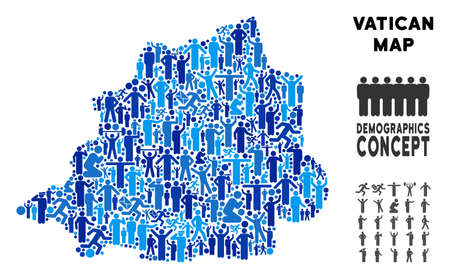 Vector population Vatican map. Demography mosaic of Vatican map made of persons with different positions. Demographic map in blue variations. Abstract social scheme of national public cartography.