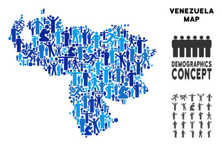 Vector population Venezuela map. Demography collage of Venezuela map designed of people with variable poses. Demographic map in blue hues. Abstract social plan of nation mass cartography.