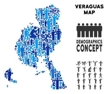 Vector population Veraguas Province map. Demography composition of Veraguas Province map combined of persons with different positions. Demographic map in blue tinges.