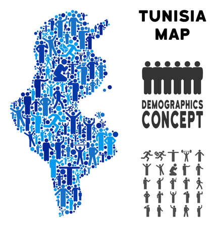 Vector population Tunisia map. Demography concept of Tunisia map combined of humans with variable poses. Demographic map in blue shades. Abstract social plan of national audience cartography.