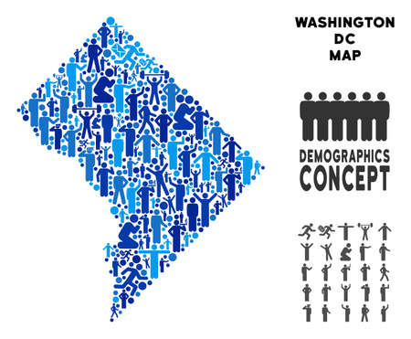 Vector population Washington DC map. Demography mosaic of Washington DC map made of humans with different positions. Demographic map in blue tones. Illustration