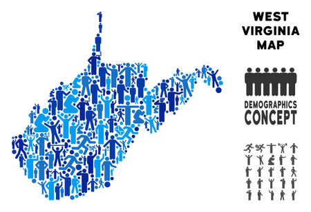 Vector population West Virginia State map. Demography collage of West Virginia State map created of persons with variable poses. Demographic map in blue tones. Illustration