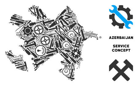 Repair workshop Azerbaijan map collage of instruments. Abstract territory plan in grey color. Vector Azerbaijan map is constructed from gearwheels, screwdrivers and other service icons. Illustration