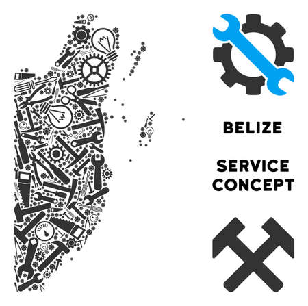 Repair service Belize map mosaic of instruments. Abstract territorial plan in grey color. Vector Belize map is constructed of gearwheels, screwdrivers and other technical objects.