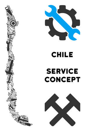 Service Chile map composition of tools. Abstract territorial scheme in gray color. Vector Chile map is created of cogs, spanners and other equipment items. Concept of maintenance workshop.