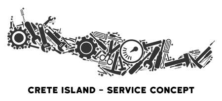 Repair service Crete Island map mosaic of tools. Abstract territorial plan in gray color. Vector Crete Island map is composed of gearwheels, hammers and other technical icons.