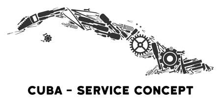 Service Cuba map collage of tools. Abstract territory plan in gray color. Vector Cuba map is formed from gear wheels, hammers and other service objects. Concept of mechanic company. Ilustração