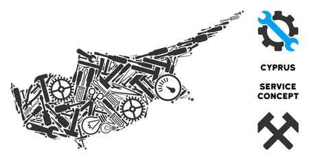 Repair workshop Cyprus Island map mosaic of tools. Abstract territory plan in gray color. Vector Cyprus Island map is shaped of cogs, spanners and other equipment items. Concept of technical workshop. Illustration