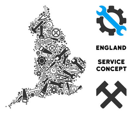 Repair service England map composition of tools. Abstract geographic scheme in grey color. Vector England map is shaped of cogwheels, hammers and other equipment items. Concept of technician service. Ilustração