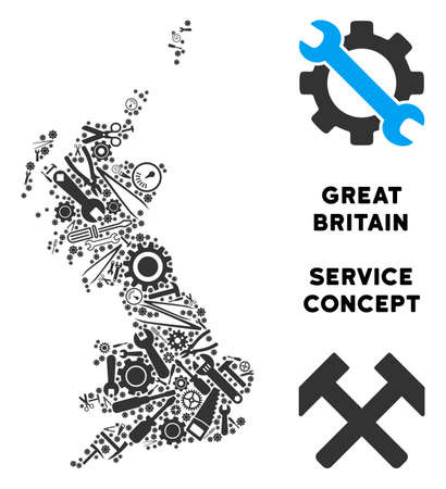 Service Great Britain map collage of instruments. Abstract territory plan in grey color. Vector Great Britain map is made of cogwheels, spanners and other service objects. Concept of maintenance job.