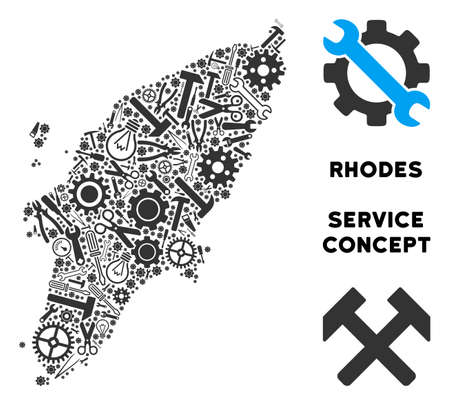 Service Greek Rhodes Island map mosaic of instruments. Abstract territory scheme in grey color. Vector Greek Rhodes Island map is composed of cogwheels, wrenches and other service objects. Vettoriali