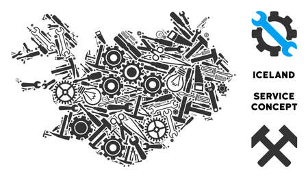 Repair workshop Iceland map mosaic of instruments. Abstract geographic plan in gray color. Vector Iceland map is designed of gear wheels, spanners and other mechanics icons. Stock Illustratie