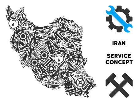 Repair workshop Iran map collage of instruments. Abstract territorial scheme in grey color. Vector Iran map is organized of gear wheels, screwdrivers and other service items.