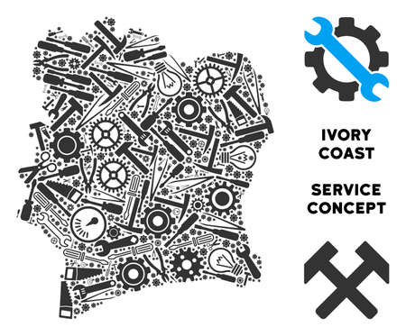Service Ivory Coast map composition of tools. Abstract territory plan in gray color. Vector Ivory Coast map is designed of gears, hammers and other service icons. Concept for maintenance service. 写真素材 - 103472308