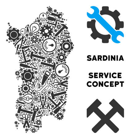 Repair service Italian Sardinia Island map collage of instruments. Abstract territory scheme in gray color. Vector Italian Sardinia Island map is created of gear wheels,