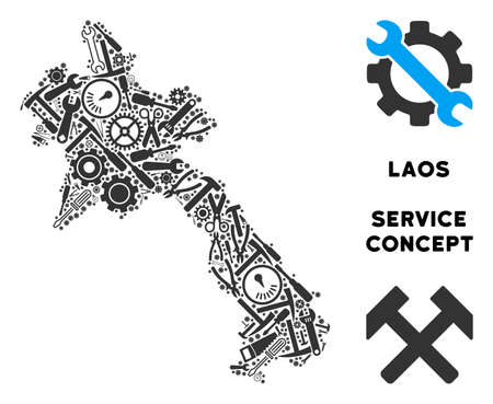 Repair service Laos map composition of tools. Abstract geographic scheme in grey color. Vector Laos map is constructed of cogwheels, hammers and other mechanics items. Concept of mechanic service.