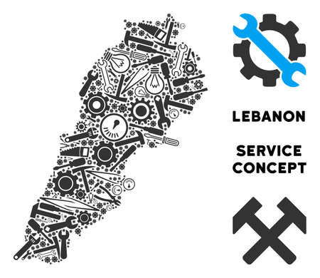 Repair workshop Lebanon map collage of instruments. Abstract territorial plan in grey color. Vector Lebanon map is constructed of gearwheels, wrenches and other service items. Illustration