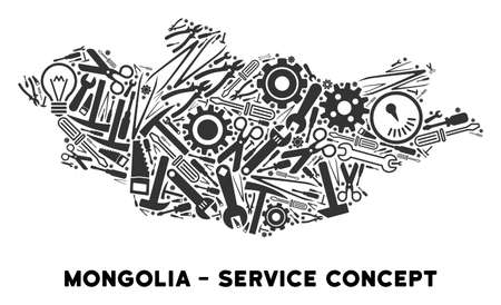 Repair service Mongolia map mosaic of instruments. Abstract territory scheme in grey color. Vector Mongolia map is organized of gears, hammers and other equipment items. 矢量图像