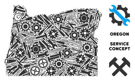 Service Oregon State map mosaic of instruments. Abstract territory plan in gray color. Vector Oregon State map is created of gearwheels, screwdrivers and other service icons.  イラスト・ベクター素材