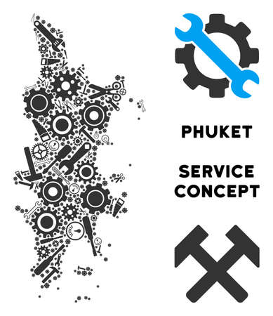 Repair service Phuket map collage of instruments. Abstract territorial scheme in gray color. Vector Phuket map is made of gears, screwdrivers and other service icons. Concept of industrial service.
