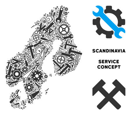 Repair service Scandinavia map composition of tools. Abstract geographic scheme in grey color. Vector Scandinavia map is done of gearwheels, hammers and other technical items.