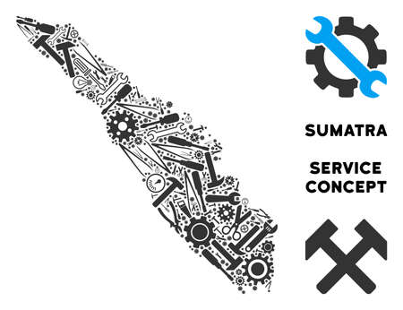 Repair service Sumatra Island map composition of instruments. Abstract geographic plan in gray color. Vector Sumatra Island map is shaped of gears, screwdrivers and other technical objects. Illustration