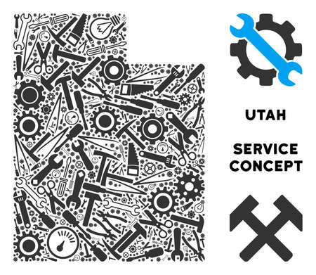 Repair workshop Utah State map collage of instruments. Abstract territory scheme in gray color. Vector Utah State map is created of gear wheels, hammers and other service icons.