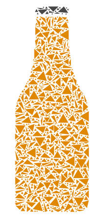 Beer bottle collage of triangle elements in variable sizes and shapes. Vector polygons are united into beer bottle illustration. Geometric abstract vector illustration.