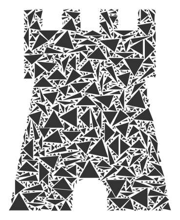 Bulwark tower collage of triangle elements in variable sizes and shapes. Vector triangles are grouped into bulwark tower collage. Geometric abstract vector illustration.