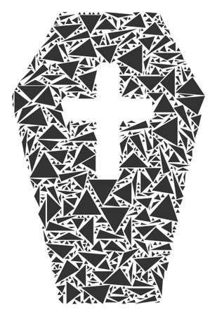 Coffin mosaic of triangle elements in different sizes and shapes. Vector polygons are united into coffin mosaic. Geometric abstract vector illustration.
