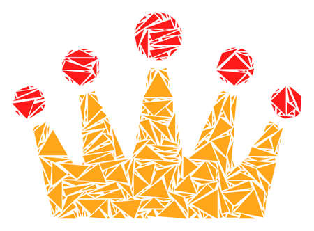 Crown collage of triangle items in different sizes and shapes. Vector polygons are composed into crown mosaic. Geometric abstract vector illustration.