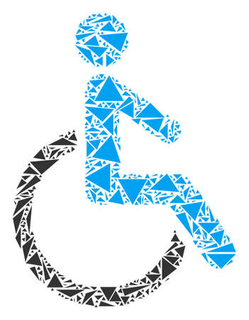 Disabled person mosaic of triangle elements in variable sizes and shapes. Vector triangles are grouped into disabled person illustration. Geometric abstract vector illustration. Ilustração