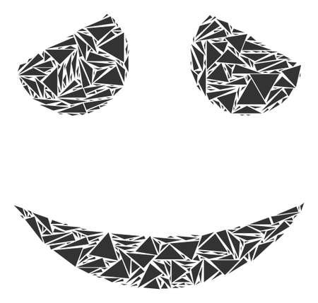 Embarrassed smile mosaic of triangle items in variable sizes and shapes. Vector polygons are arranged into embarrassed smile mosaic. Geometric abstract vector illustration.