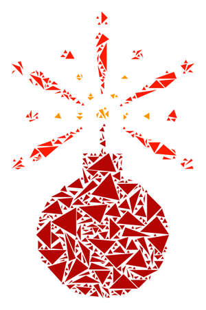 Fireworks detonator mosaic of triangle elements in variable sizes and shapes. Vector triangles are arranged into fireworks detonator mosaic. Geometric abstract vector illustration.